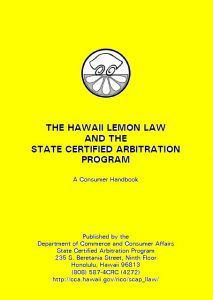 LINK to Lemon Law Consumer Handbook