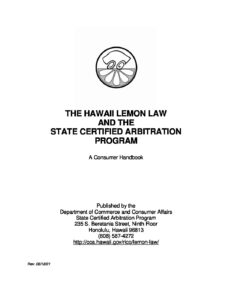 LINK to Lemon Law Consumer Handbook