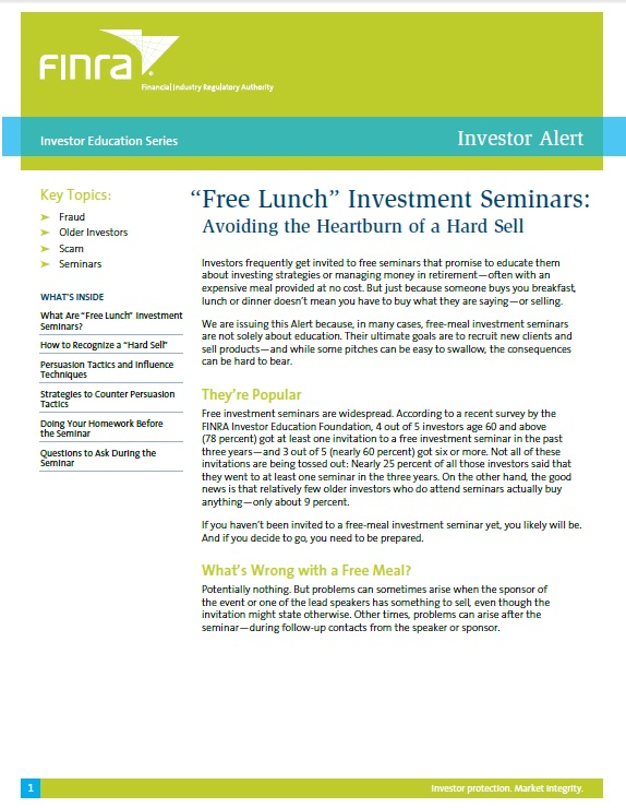 "FINRA ""Free Lunch"" Investment Seminars"